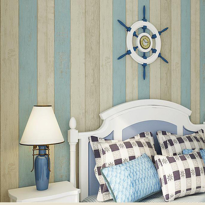 Wallpapers Decoration Blue stripe wallpaper roll Wood wallpaper striped Mediterranean style wall paper for walls papier peint mediterranean style sky blue wallpaper modern pure color wall paper roll for bed room livingroom