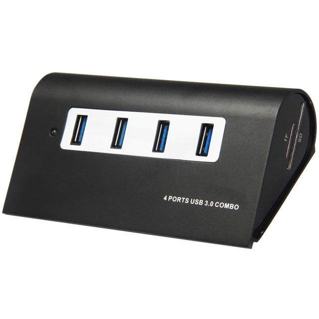 Portas Da Liga de alumínio USB 3.0 Hub 5 Gbps Mini Portátil Alimentado Adaptador Combo (preto) com TF/Leitor de Cartão SD