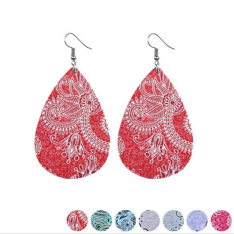 2018 women's earring Simple PU Tear drop Earrings Fashion leather earrings Statement Earrings for women jewelry P1