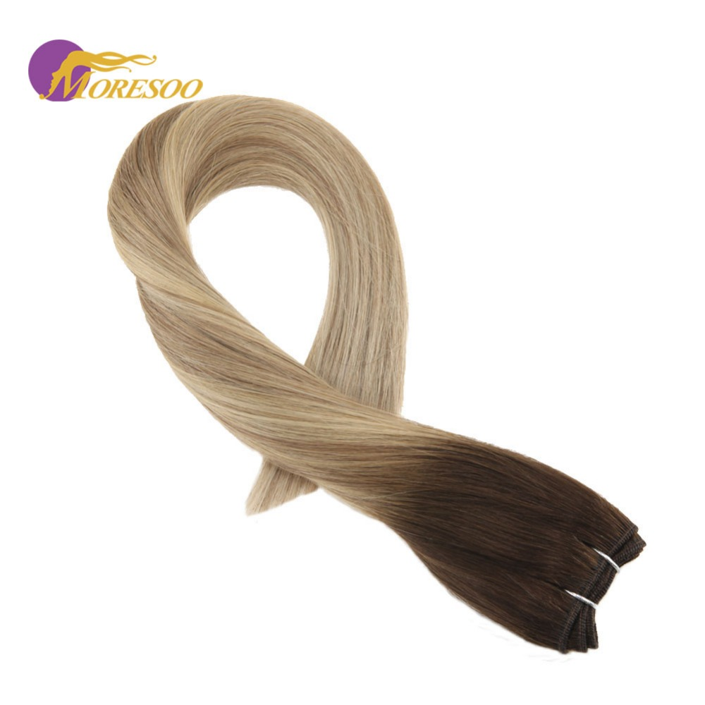 Moresoo Remy Brazilian Human Hair Extensions Colorful Brown #3 Fading To #8 Highlighted With #22 Sew In Weft Hair Bundles 100G