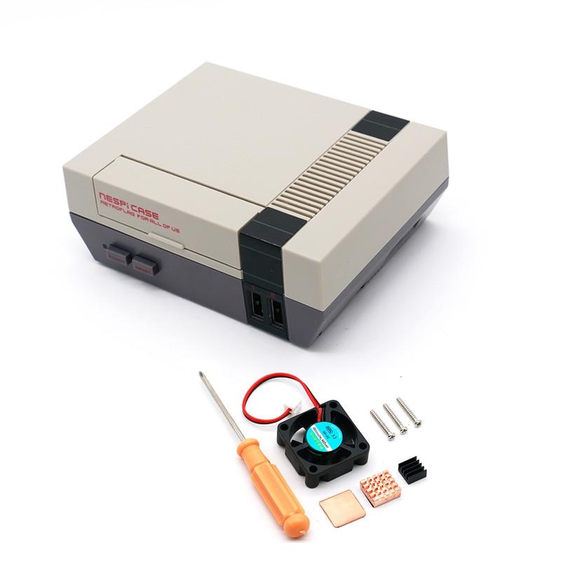Retroflag NESPi Fall Retroflag Mini NES Stil Spiel Kit mit Lüfter + kühlkörper + Flanell Tasche für Raspberry Pi 3/2/B +