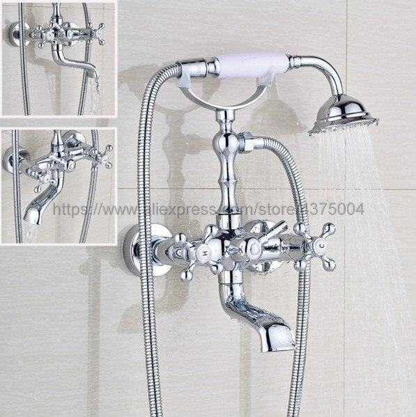 купить Bathtub Faucets Wall Mounted Chrome Bathtub Faucet With Hand Shower Bathroom Bath Shower Faucets Ntf902 по цене 5016.86 рублей
