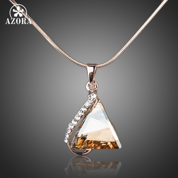 AZORA Rose Gold Color Cubic Zirconia Stone Triangle Pendant Necklace TN0063