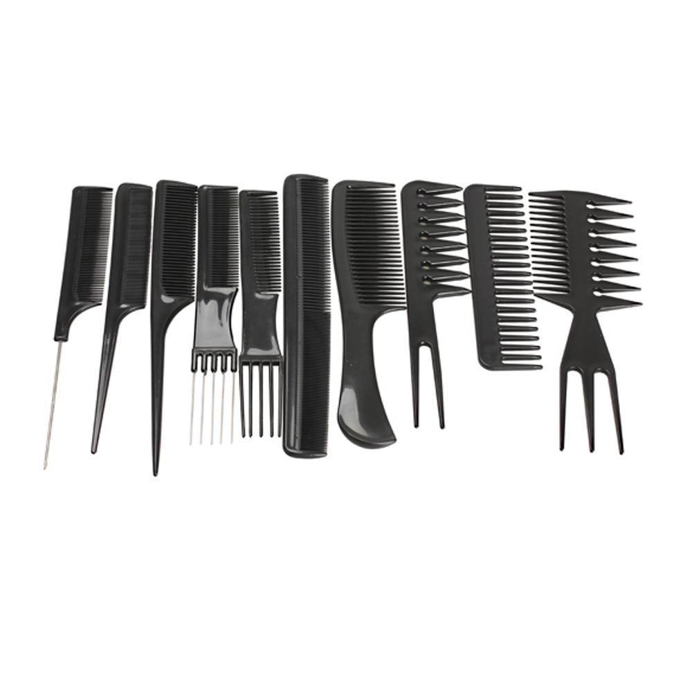 10pcs / Set Profesionalna kosa četka za kosu Salon Salon Anti-statički češalj za kosu Četka za kosu Frizerske kombinacije Njega kose Alati za oblikovanje