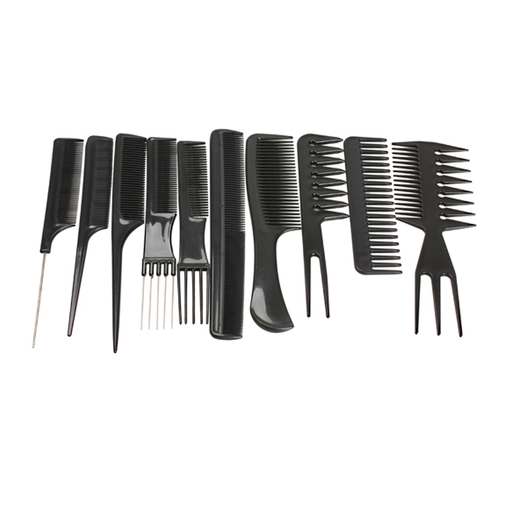 10pcs / set שיער מקצועי מברשת מסרק סלון סלון נגד שיער סטטי קומבס Hairbrush מסרקים שיער מסרקים טיפול שיער כלים
