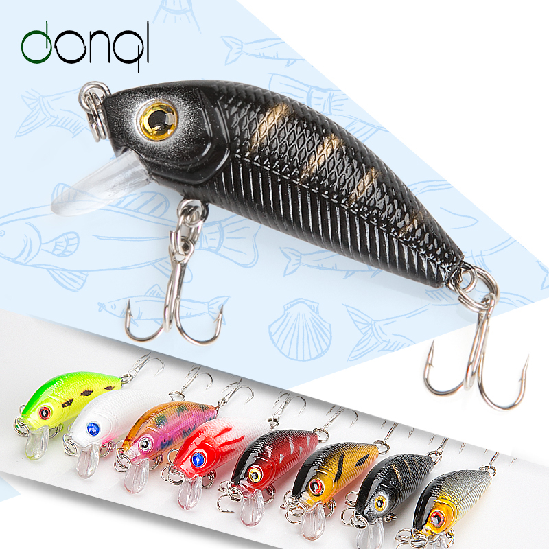 DONQL Minnow Hard Bait Wobblers Crankbait Fishing Lure 5cm 3.6g Artificial Swim bait Fishing Lures With Sharp Hooks Pesca Tackle 56pcs lot mixed fishing lures bass baits crankbaits fish hooks tackle xg 2017 new fishing lure minnow