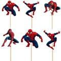 24 шт./лот Super hero Человек-Паук кекс топпер выбирает мальчик дети украшение партии малыша день рождения украшения поставки