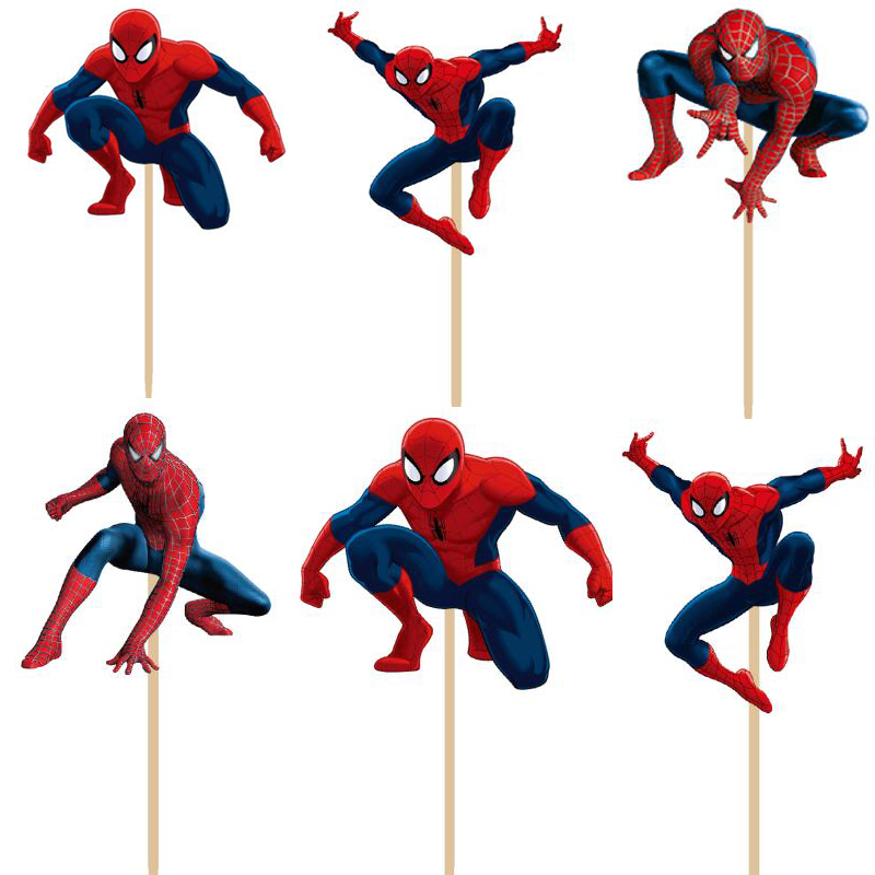 24pcslot super hero spiderman cupcake topper picks boy children party decoration kids birthday party decoration supplies - Party Decoration Stores
