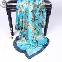 Moda Varış Blue Streak Kadınlar Polyester Küçük Kare Bandana Baskılı Eşarp, İngiliz Stil Marka Casual İpek Eşarp 110*110