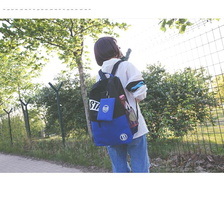 Korean New Backpacks Letter Printing Canvas Backpack Rucksack Women Travel Preppy Style School Bag For Teenager