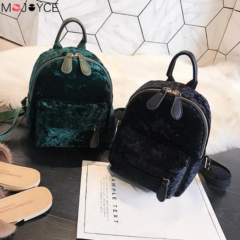 Women Soft Velvet Zipper Pure Color Backpack For Teenager Girls Small Travel Backpacks School Bags Feminina Female Shoulder Bags #6