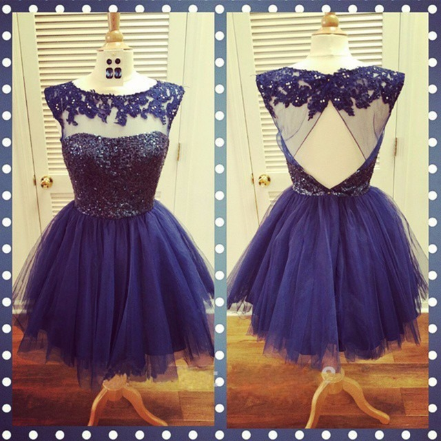 e94caf1dc66 Short Navy Blue Homecoming Dresses Beaded Cap Sleeve Sheer See Through  Backless Tulle A Line Cute 8th Grade Graduation Dress