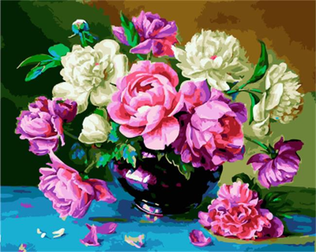 PAINTBOY Framed Picture Flower DIY Painting By Numbers On Canvas Oil Painting Home Decor For Living Room Wall