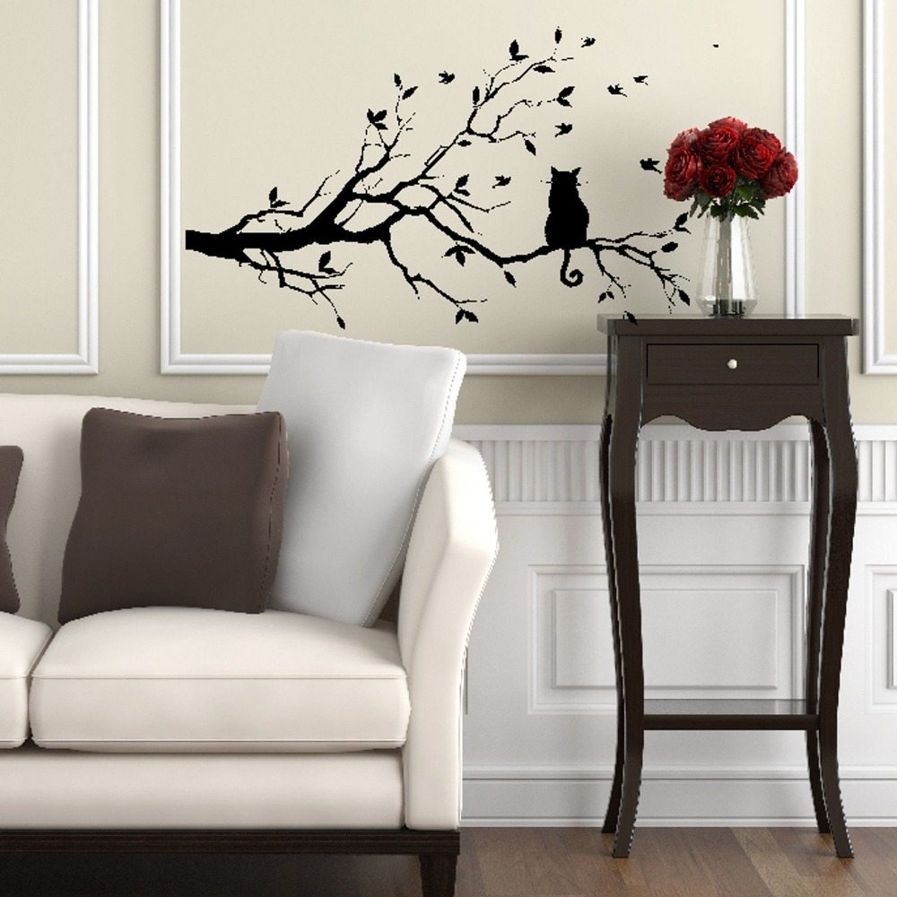 wall stickers cat aliexpress com buy cat on tree branch birds wall sticker vinyl decal mural glass film window stickers home decoration wall art design stickers from