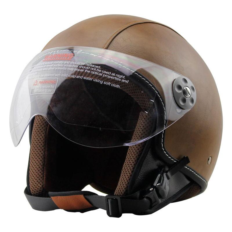 VOSS Hot Sale 3/4 Motorcycle Helmet Motorcross Half-Face Vintage For Scooter PU Leather Crash Visor Helmet Motorway Helmets все цены