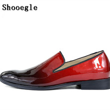 SHOOEGLE New Black Red Gradient Color Leather Dress Shoes High Quality Men Flats Handsome Shoes Large Size 46 Men Loafers