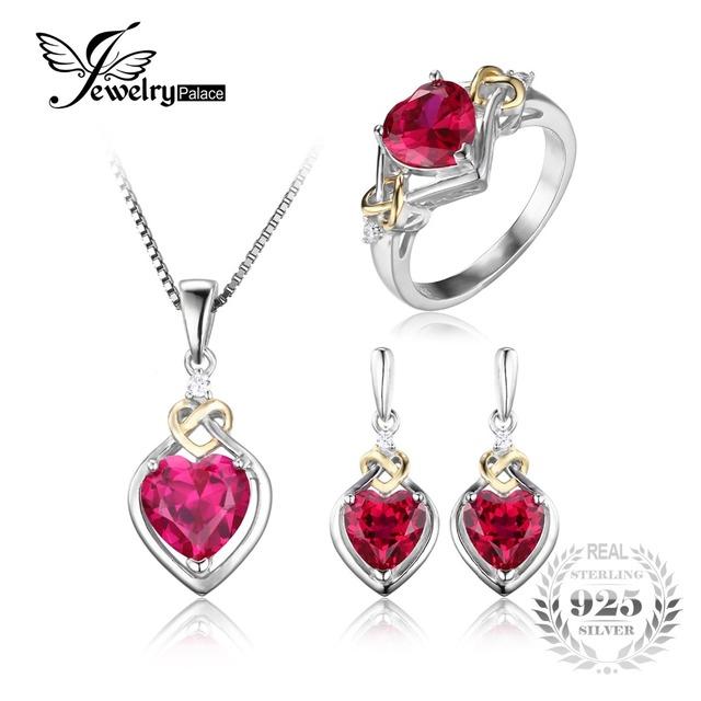 Jewelrypalace 8.4ct creado rubí anillo de promesa aniversario del nudo de amor del corazón cuelga los pendientes de gota colgante de collar de plata de ley 925