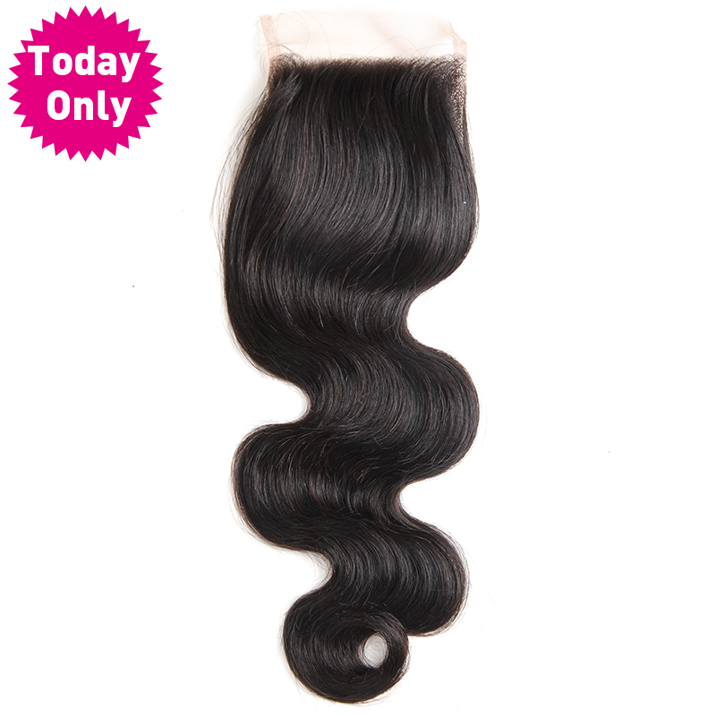 [TODAY ONLY] Brazilian Body Wave Bundles 4 x 4 Lace Closure With Baby Hair 100% Human Hair Weave Bundles Non Remy Natural Color-in Closures from Hair Extensions & Wigs    1
