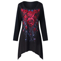 LANGSTAR 2018 Spring Plus Size 5XL Long Sleeve T Shirt Women Fashion Rose Print Crescent Hem