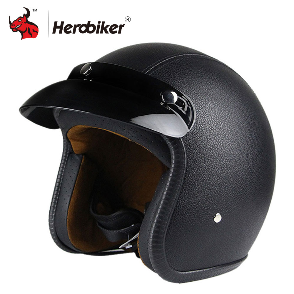 все цены на New Synthetic Leather Motorcycle Helmet Retro Vintage Cruiser Chopper Scooter Cafe Racer Moto Helmet 3/4 Open Face Helmet DOT онлайн