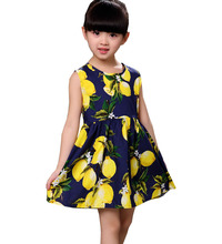 Summer Lemon Fashion 100% pure cotton girl dress Korean version of sleeveless