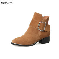 NEMAONE 2018 Vintage Style Genuine Leather Women Boots low heel Booties Cowhide Women's Shoes Ankle Boots zapatos mujer
