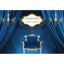 Blue Curtain Welcome Little Prince Armchair Birthday Party Light Portrait Photo Background Photography Backdrop For Studio