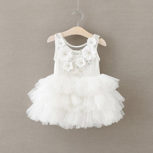 Novas Rendas Verão Colete Meninas Do Bebê Vestido Da Menina Princesa flores Dimensionais Vestido Chlidren Roupas Partido Dos Miúdos Roupas de alta qualidade