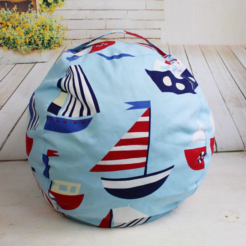 Large Capacity Storage Bag Portable Kids Toy Organizer Stuffed Animal Storage Bean Canvas Bag Travel Outside Picnic Play Mat