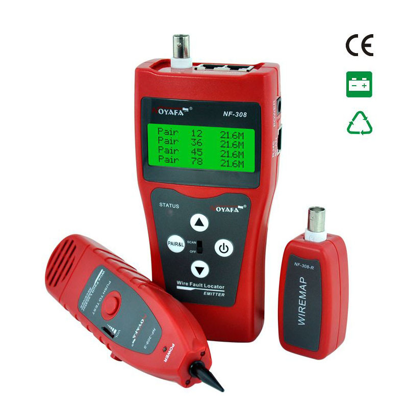 ФОТО Unique Network monitoring cable tester LCD NF-308 Wire Fault Locator LAN Network Coacial BNC USB RJ45  RJ11 red color