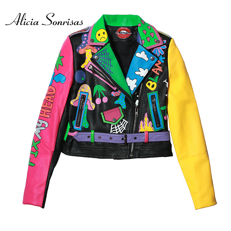2019 Spring Street Graffiti Printing Crazy Contrast Color Motorcycle PU   Leather   Short Jacket Zippers   Leather   Outerwear Y6001