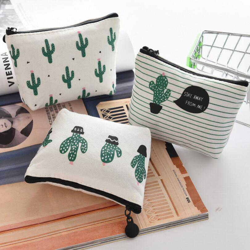 New Small Cute Women Female Coin Wallet Canvas Coin Purse Girl Kid Card Holder Money Pouch Cactus Change Pouch Key Bags girl women stylish cute silicone coin purse wallet