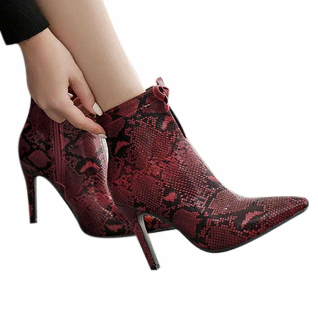 Patik kadın bayan botları yüksek topuklu botlar kadınlar seksi Yılan fermuarlı deri yarım çizmeler kadın zapatos de mujer invierno 7 #3.5
