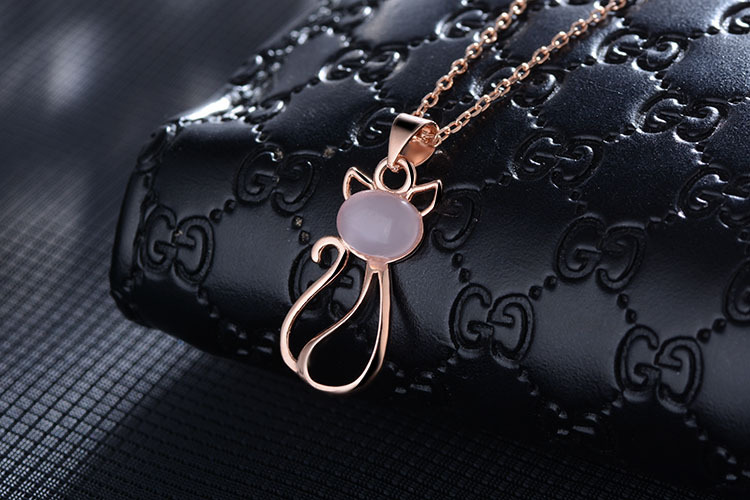 High quality fashion pink crystal dance cat 925 sterling silver ladies pendant necklaces jewelry women birthday gift wholesale in Pendant Necklaces from Jewelry Accessories