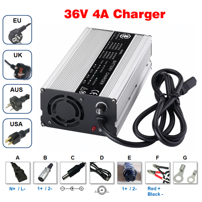 36V 4A charger Output 42V 4A aluminum case charger Used for 36V Li-ion battery charging Hight Power Smart Charger 42v 8a charger 36v li ion battery smart charger used for 10s 36v li ion battery golf cart charger