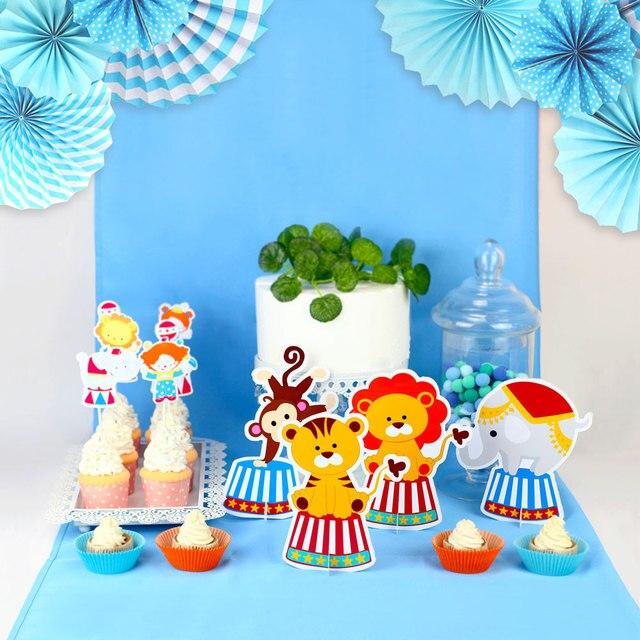 Circus Party Decoration Animal Table Centerpiece Birthday Supplies Blue Monkey Elephant Decor