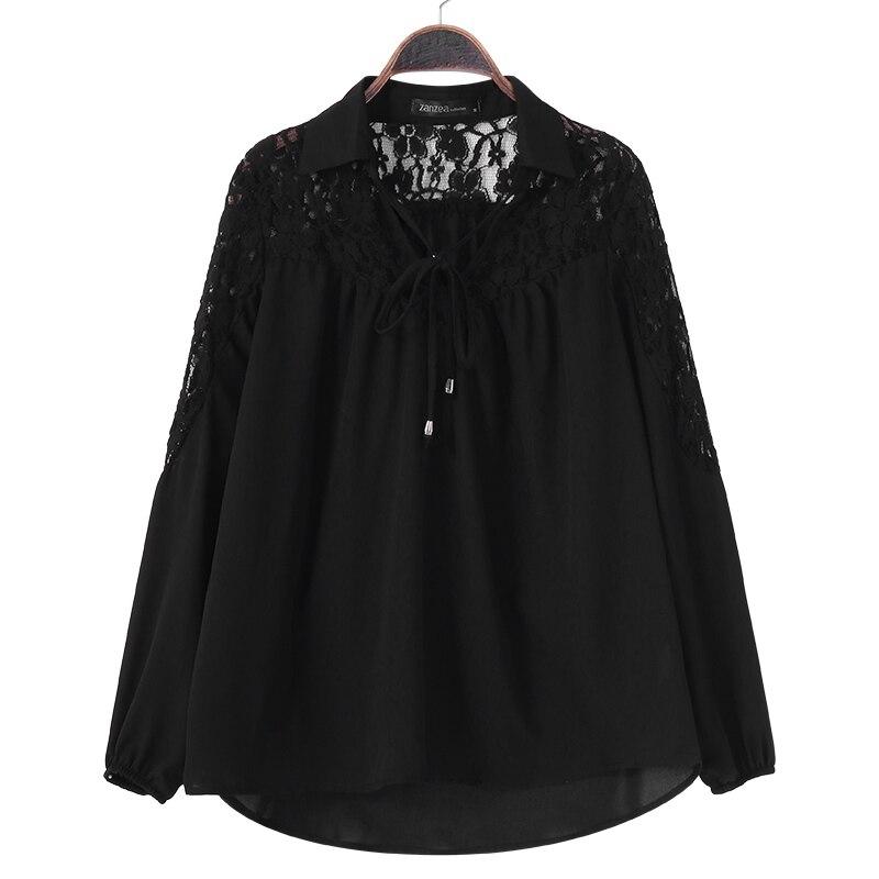 ZANZEA 2018 Summer Autumn Women Lapel Long Sleeve Blouse Solid Lace Crochet Shirt Casual Baggy Blusas Office White Top Plus Size 5