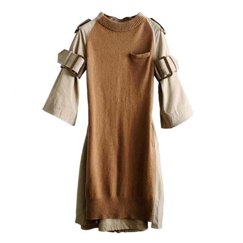TWOTWINSTYLE Knitted Dress Female Large Big Size Belt Tunic Black Dresses Autumn 2019 Long Sleeve Women
