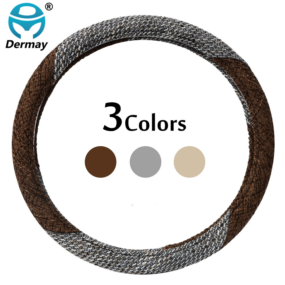 DERMAY CAR STEERING WHEEL COVER Flax Fabric THICKER Good Touch Anti-slip M size Fit 14-1 ...