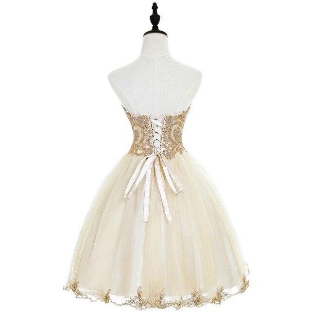 Elegant 2019 Champagne Tulle Short Prom Dresses Sweetheart Neck Sleeveless Gown vestidos de gala In Stock 2