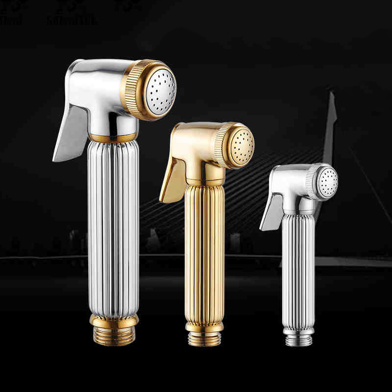 Bidets Faucet Sprayer Solid Brass Chrome Silver Handheld Toilet Bathroom Bidet Garden Faucet Bidet Head Pet Shower Spray 0223