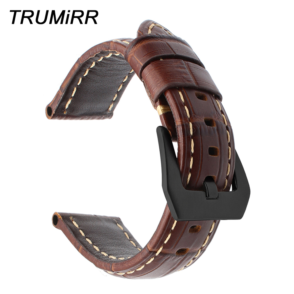 Imported Genuine Calf Leather Watchband 20mm 22mm 24mm 26mm Universal Watch Band Wrist Strap 316L Stainless Steel Clasp Bracelet straps 20mm 22mm 24mm 26mm calf skin genuine leather watch band with watch stainless steel black buckle for panerai watch strap