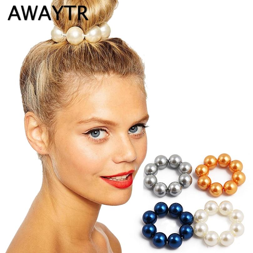 AWAYTR Pearl Hair Scrunchies For Women Elastic Hairband Rope Stretch Hair Rubber Female Girls Hair Accessories Ponytail Holder