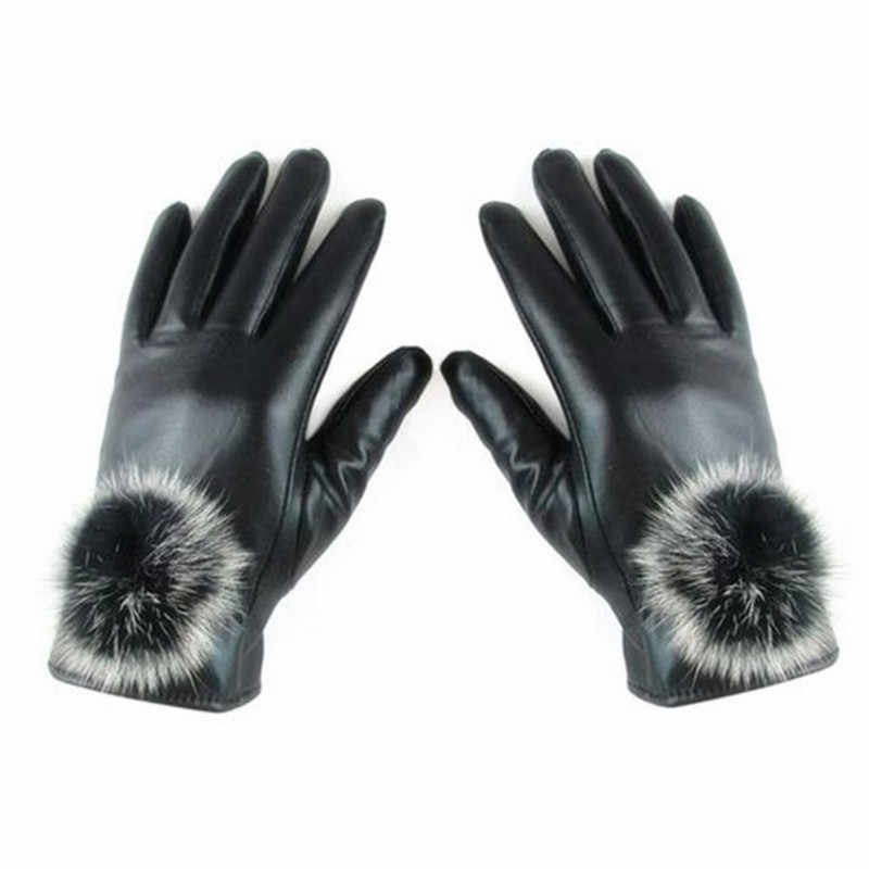 女性の冬の手袋ファッション高品質女性の革手袋暖かいウサギの毛皮の手袋 Luvas ミトン手袋女性のアクセサリー