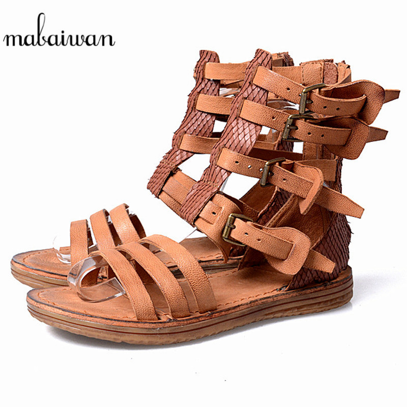 Mabaiwan Brown Summer Women Beach Shoes Cow Genuine Leather Sandals Breathable Buckle Shoes Woman Zip Gladiator Open Toe Flats woman slides summer beach shoes open toe metal belt buckle design shoes woman chic women flats open toe snake pattern slipper