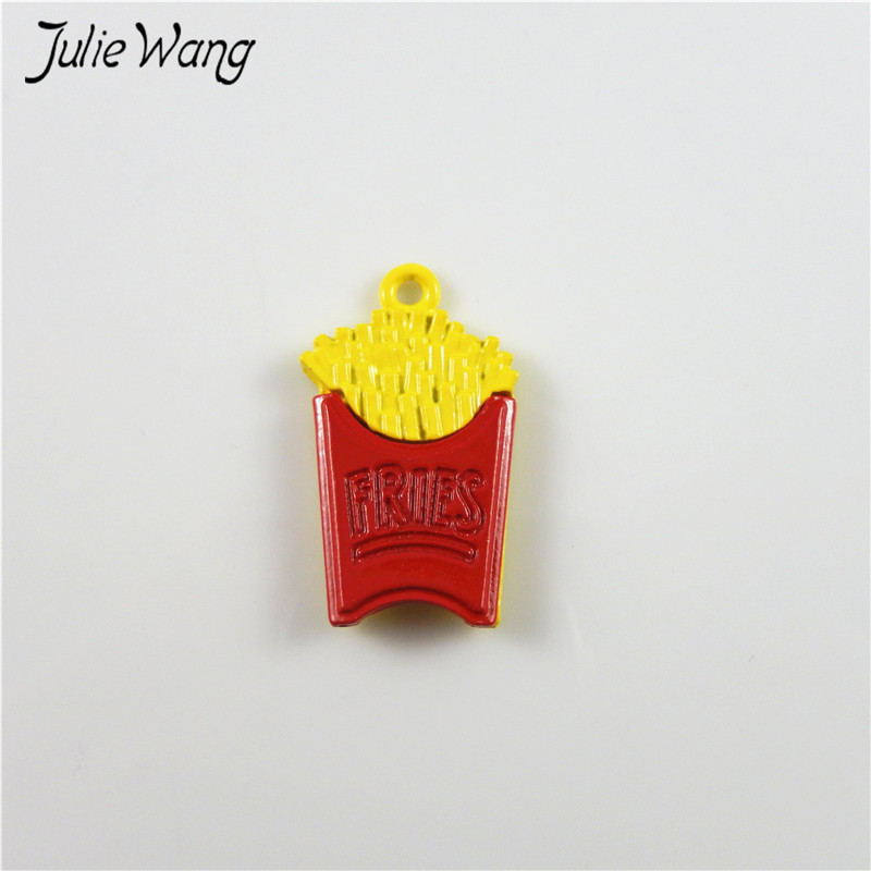 Julie Wang 8pcs Stunning Colorful Yellow Chips with FRIES Letter Enamel Alloy Pendant Charms for Women Jewelry Handmade 25*15mm