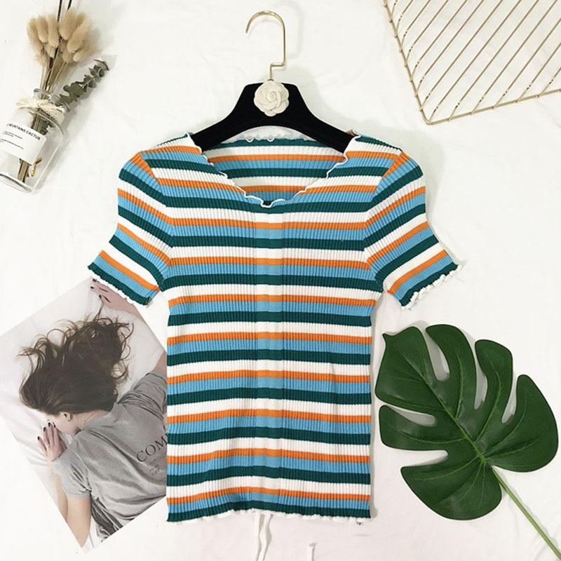 Women Summer t shirt Sexy Charming V neck Drawstring Ruffled t shirt Striped Short Sleeve Thin T shirt streetwear in T Shirts from Women 39 s Clothing