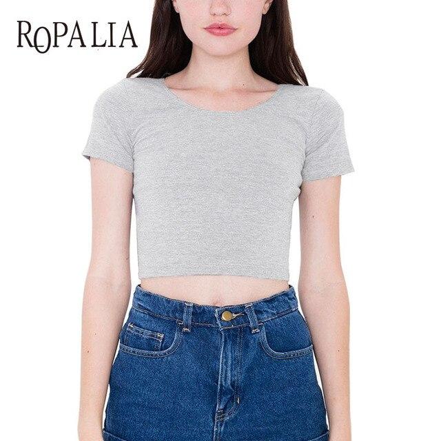 6b1d4e249b6 Cotton Women T-shirts O neck Sexy Crop Top Short Sleeve Tops Shirt Ladies  Short