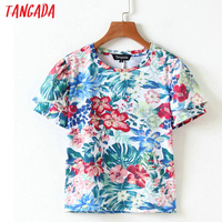 Tangada Women Fashion Floral Printed Blouses Summer Ladies Tops O-Neck Short Sleeve Ruffle Shirts Female Casual Brand QB35