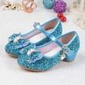 Cristal imagem dos desenhos animados de neve de fadas meninas shoes princesa arco brilho baby girl shoes couro sapatos de salto alto meninas dress shoes para partido